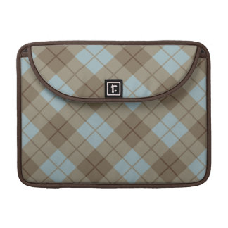 Bias Plaid in Blue and Brown Sleeve For MacBooks
