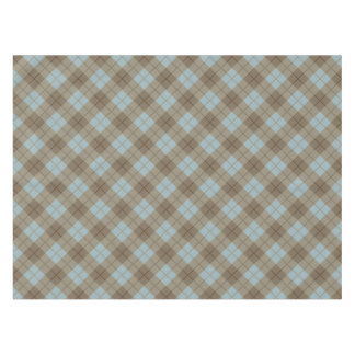Bias Plaid in Blue and Brown Tablecloth