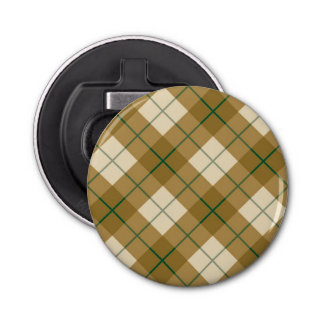 Bias Plaid in Gold with Green Stripe