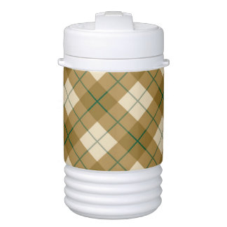 Bias Plaid in Gold with Green Stripe Cooler