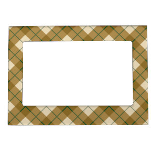 Bias Plaid in Gold with Green Stripe Picture Frame Magnet