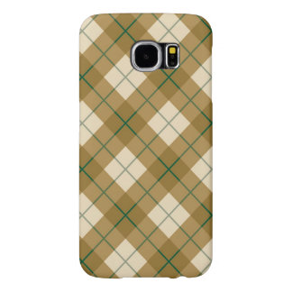 Bias Plaid in Gold with Green Stripe Samsung Galaxy S6 Cases