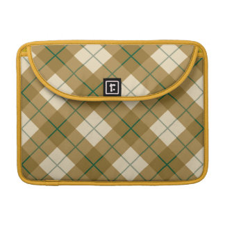 Bias Plaid in Gold with Green Stripe Sleeve For MacBooks