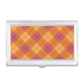 Bias Plaid in Orange and Pink Case For Business Cards