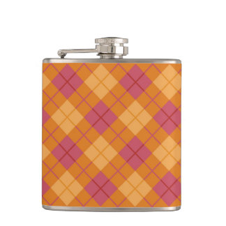 Bias Plaid in Orange and Pink Flask