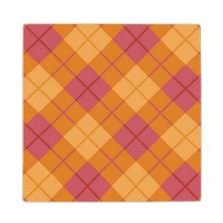 Bias Plaid in Orange and Pink Wood Coaster