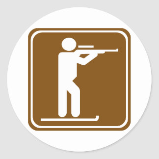 Biathlon Highway Sign Round Sticker