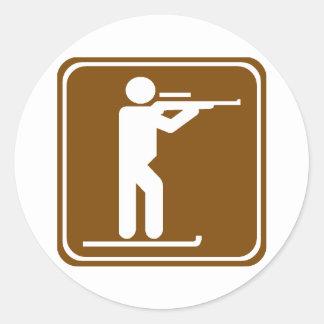 Biathlon Highway Sign Round Sticker