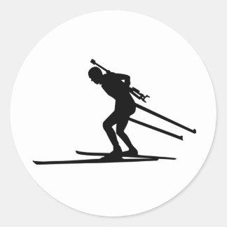 Biathlon skiing round sticker