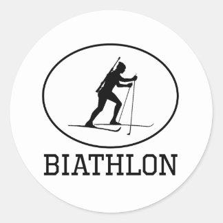 Biathlon Round Sticker
