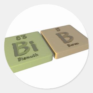 Bib as Bi Bismuth and B Boron Round Sticker