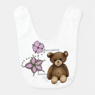 Bib teddy and flowers