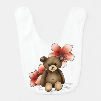 Bib teddy and flowers of cherry tree