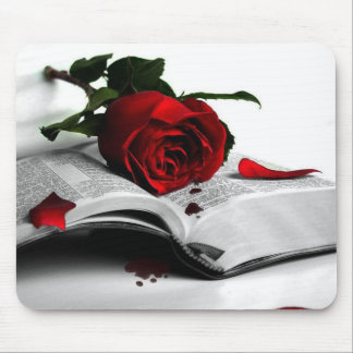 Bible and a Red Rose Mouse Mat