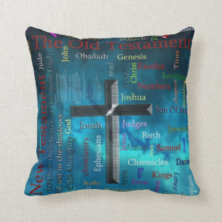 BIBLE and religion word cloud concept blue Cushion