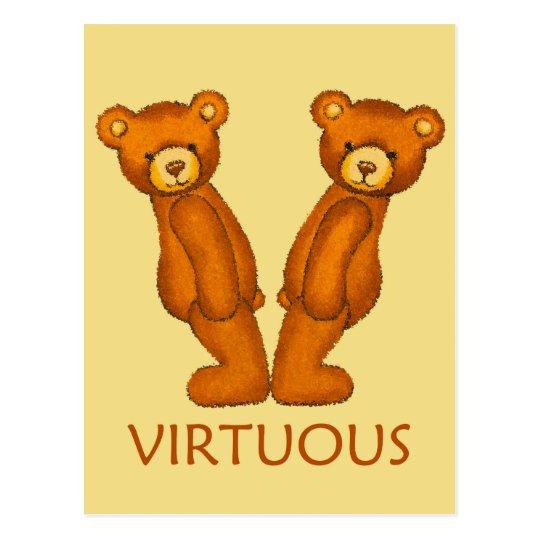 Bible Bears ~ Virtuous Scripture ~ Flashcard Postcard