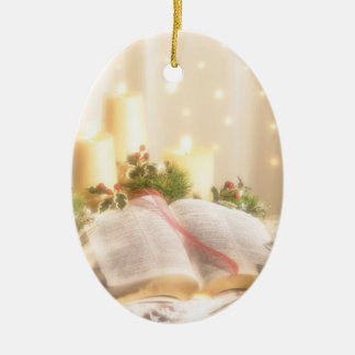 Bible, Candles and Holly - Christmas Ornament