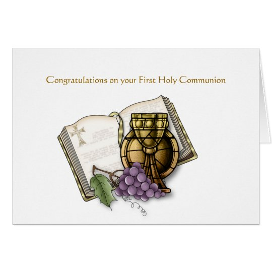 Bible, Chalice, Grapes, Communion Card