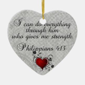 Bible Christian Verse Philippians 4:13 Ceramic Heart Decoration
