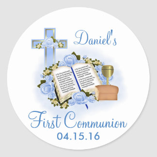 Bible Cross First Communion Stickers Envelope Seal Round Sticker