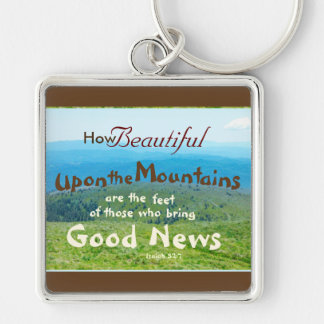 Bible, How beautiful those who bring Good News, Silver-Colored Square Key Ring