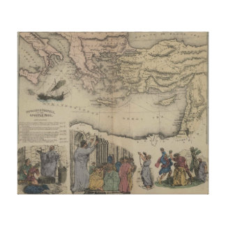 Bible maps The Year 1856 voyages of apostle paul Stretched Canvas Print