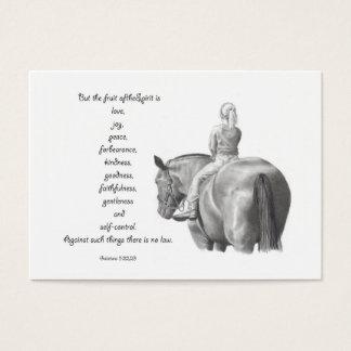 BIBLE MINI CARD: Horse: FRUIT OF SPIRIT: Drawing Business Card