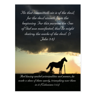 Bible passage, a lovely horse in the sunset postcard