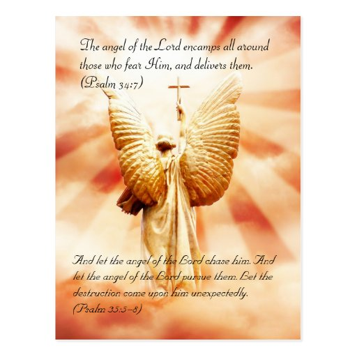 Bible passage, angel of the Lord Postcards
