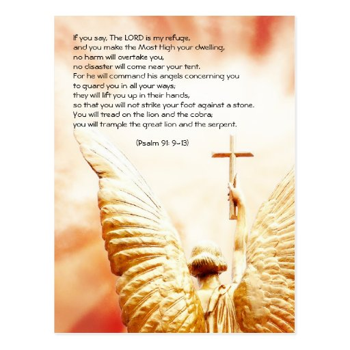 Bible passage, angel of the Lord, psalm 91 Post Cards