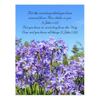 Bible passage, blue flowers & blue sky post card