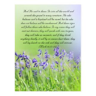 Bible passage, bluebells close up postcard