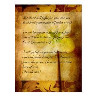 Bible passage, brown grunge & hellebora postcard