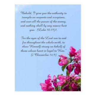 Bible passage, cherry tree blossom postcard