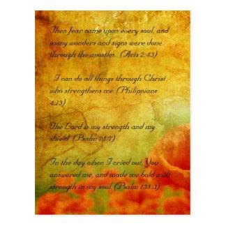 Bible passage, grunge flowers postcard