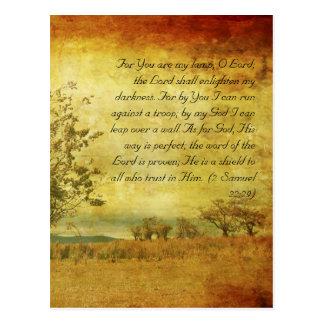 Bible passage, grunge landscape postcard