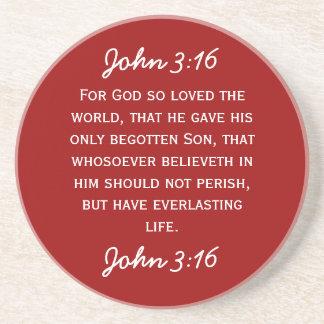 Bible Passage John 3:16 in white text. Drink Coaster