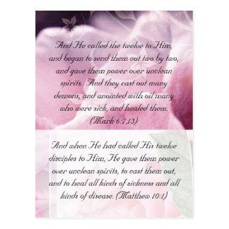 Bible passage, pink beauty postcard