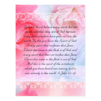 Bible passage, pink roses on blue post cards