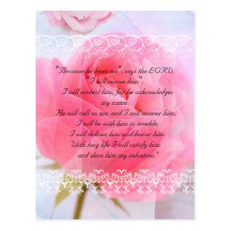 Bible passage, pink roses on blue postcard