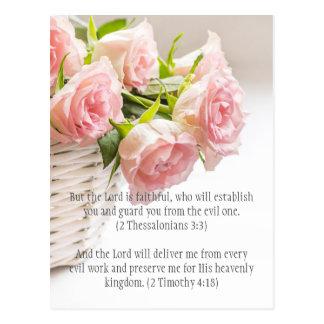 Bible passage, pink roses postcard