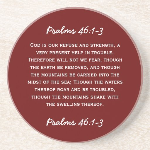 Bible passage Psalms 46:1-3 in white text. Coasters