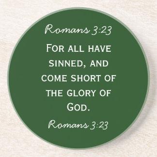 Bible passage Romans 3:23 in white text Beverage Coaster
