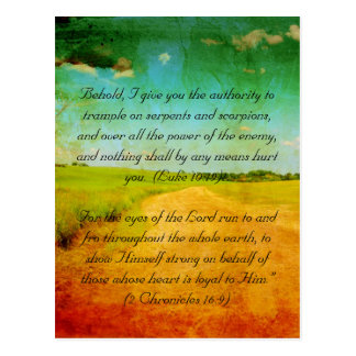 Bible passage, rural road and fields grunge postcard