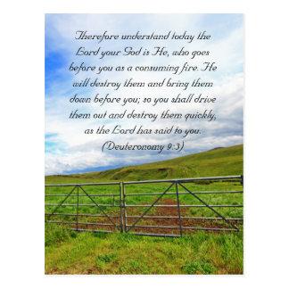 Bible passage, Scottish fields Postcard
