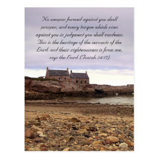 Bible passage, Scottish seaside and old houses Postcard