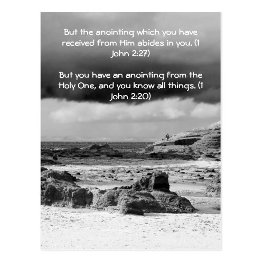 Bible passage, seaside and dramatic sky b& w post card