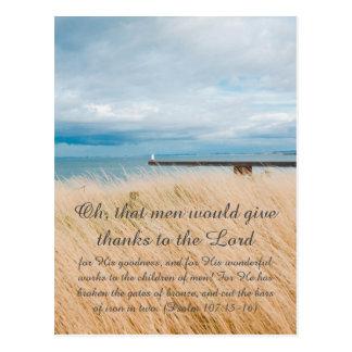 Bible passage, seaside postcard