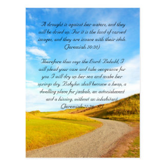 Bible passage, the road and blue sky postcard