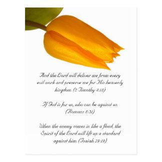 Bible passage, yellow tulip postcard